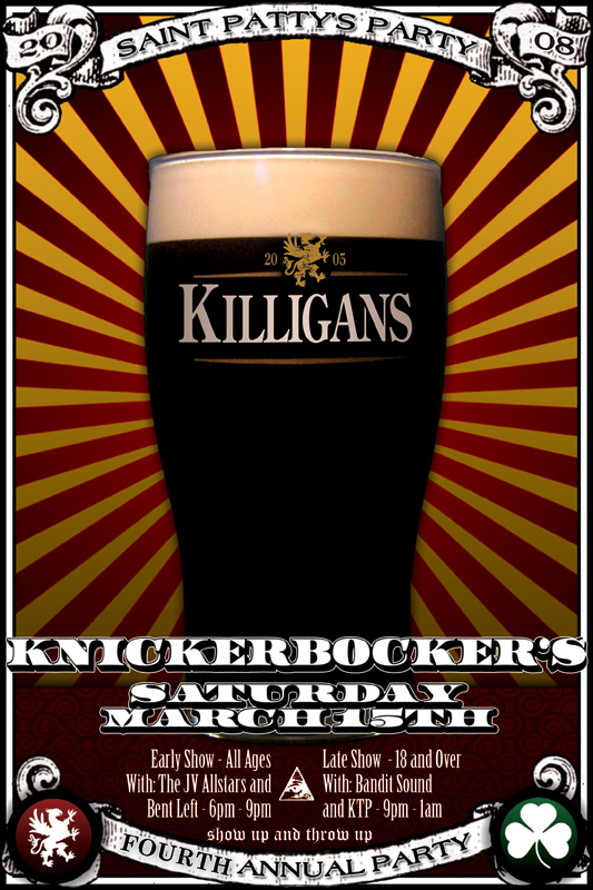 killigans st. patrick's day party poster